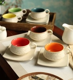 Cdi Stoneware 150 ML Cups & Saucers - Set Of 6
