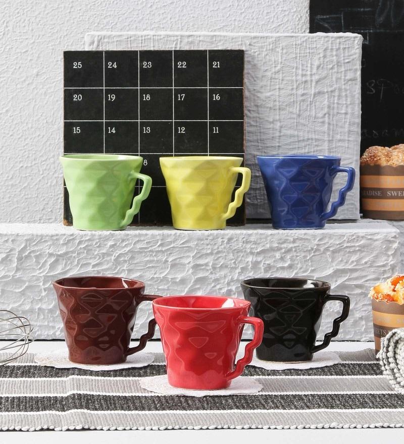 Buy Devnow Neo Double Wall Glass 330 ML Coffee Mugs - Set of