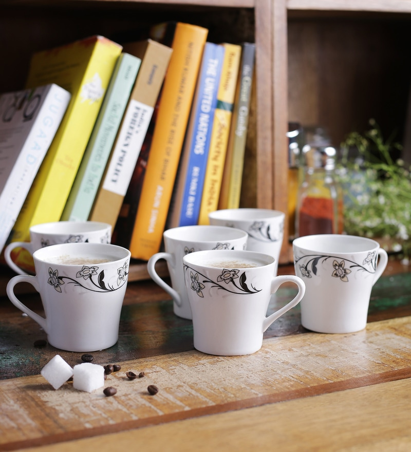 Cdi Floral Bone China 150 ML Mugs With Wooden Tray - Set of 6