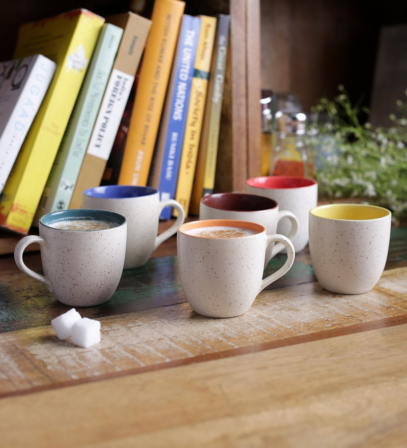 CDI Stoneware Marble Finish Tea Cup Set of  6
