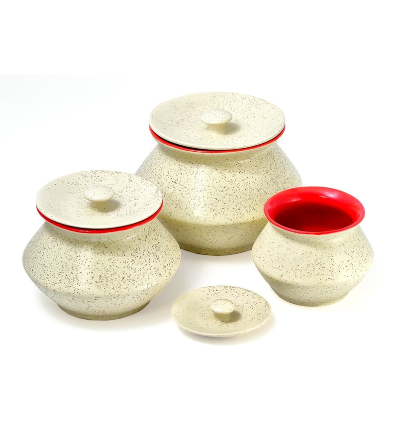 Red Marble Handi with Lid - Set of 3 by Cdi