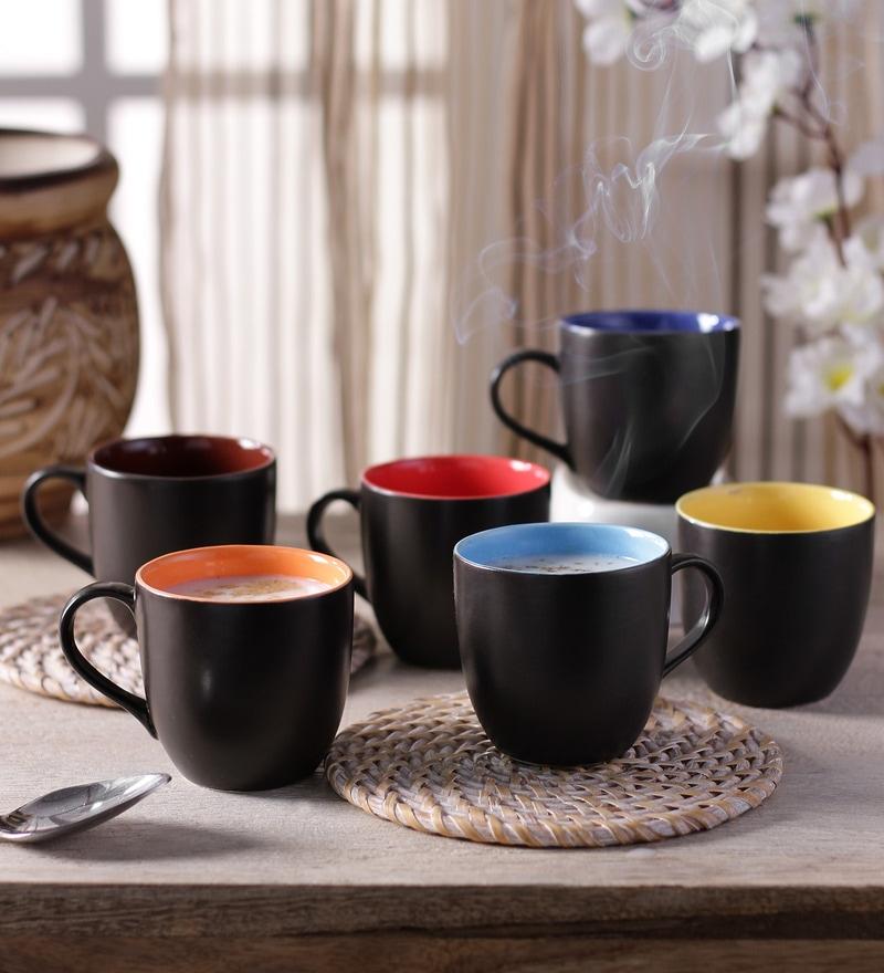CDI Stoneware Matt Finish Stoneware 150 ML Mugs With Wooden Tray - Set of 6