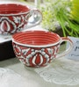 CDI Stoneware Red and White Stoneware 250 ML Mughal Art Soup Bowl - Set of 2