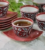 Cdi Red Stoneware 150 ML Mughal Art 12-piece Cup and Saucer Set