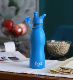 Celebration Gift H2O Blue Stainless Steel 600 ML Trendy Water Bottle - 1606936