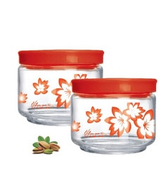 Prego Bellino 3 Pcs Round Container Jars Set 300 Ml Red-Set Of 5