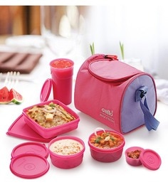 Cello Max Fresh Sling 5 Container Lunch Box with Bag,Pink ...