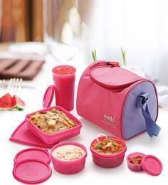 Cello Max Fresh Sling With Bag Pink Plastic Lunch Box - Set Of 4