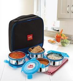 Cello Max Fresh Supremo Blue Steel Lunch Box - Set Of 4