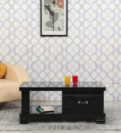 Center Table With Drawer In Black Finish