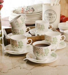 Ceradeco Ceramic 200 ML Cups & Saucers - Set Of 12