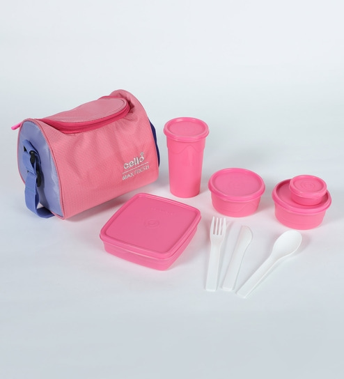 Cello Max Fresh Sling With Bag Pink Plastic Lunch Box - Set Of 5