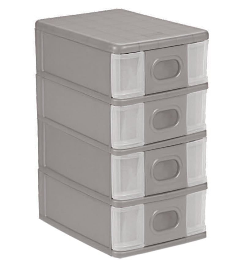 Cello Alpha 4 Drawer Plastic Silver System Box