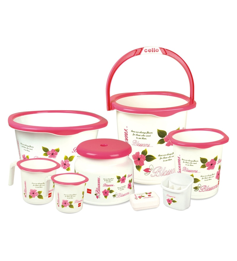 Cello Blossom Plastic Pink Bucket Set - Set of 8