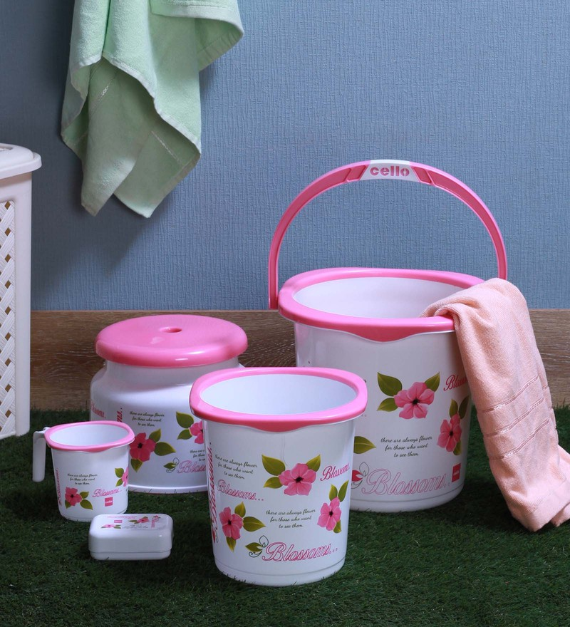 Cello Blossom Plastic Pink Small Bucket Set - Set of 5