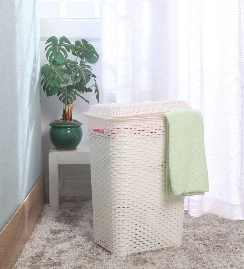Cello Eliza Plastic 50 L Milky White Laundry Basket