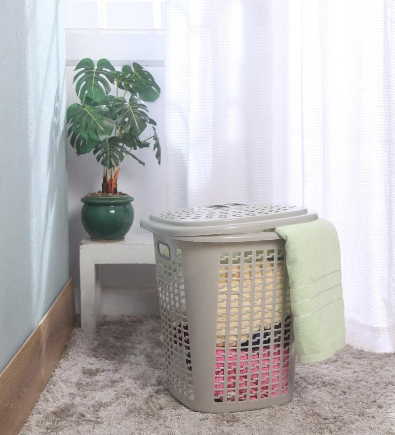 Cello Esquire Plastic 50 L Beige Laundry Basket with Lid