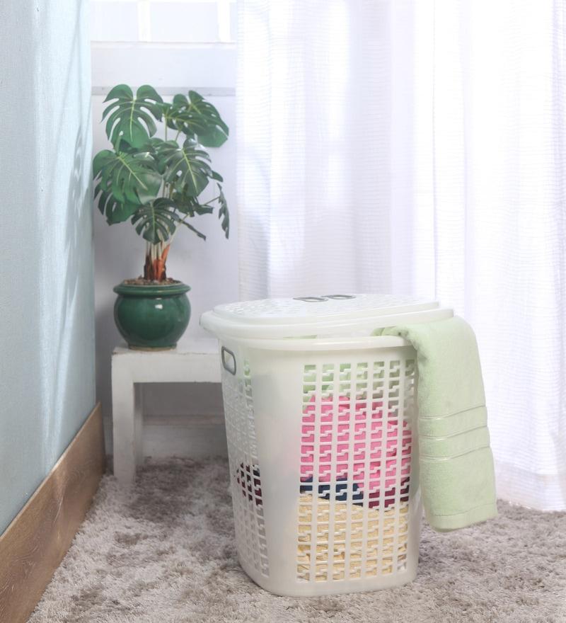 Cello Esquire Plastic 50 L Milky White Laundry Basket with Lid