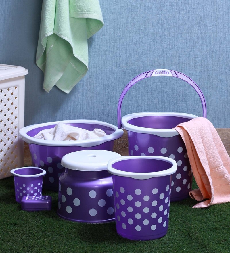 Cello Fushion Plastic Purple Bucket Set - Set of 6