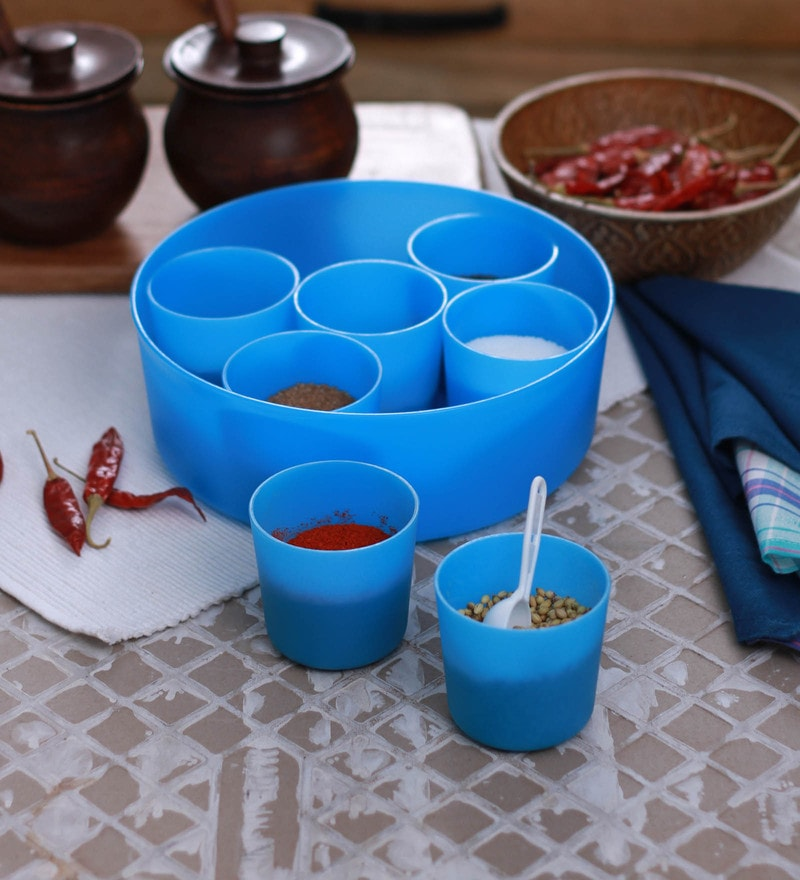 Cello Max Fresh Air Tight Blue Round Multi Spice Kit Cum Container