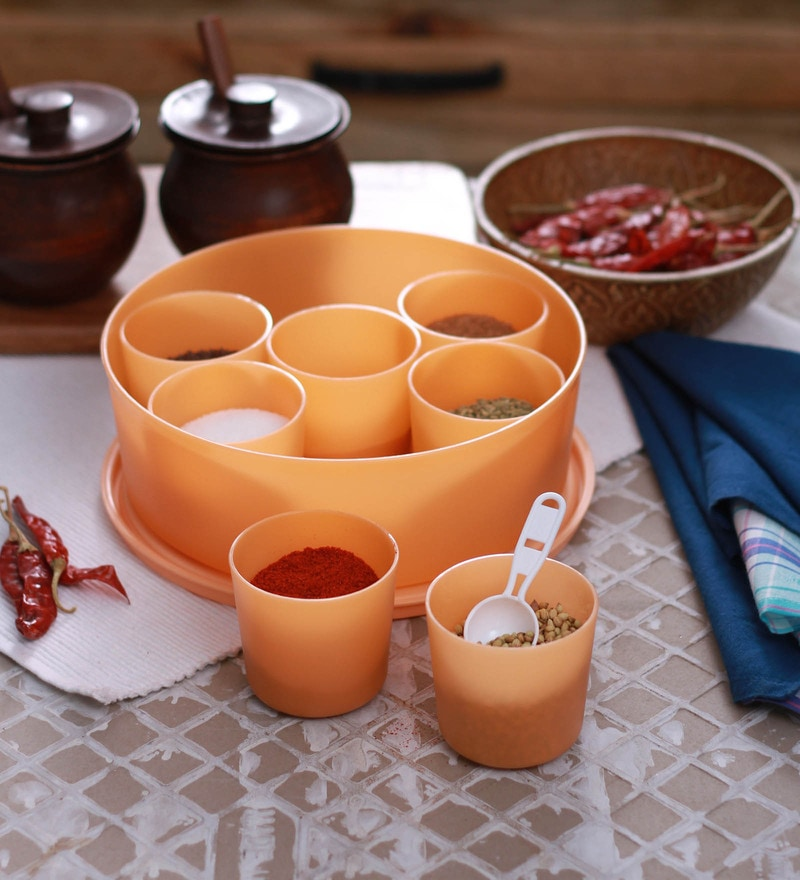 Cello Max Fresh Air Tight Peach Round Multi Spice Kit Cum Container