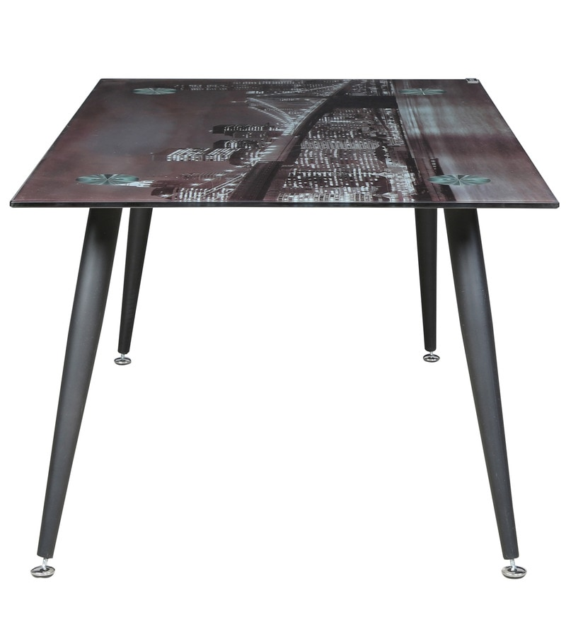 Buy Warren Center Table With Bay View Printed Glass Top By