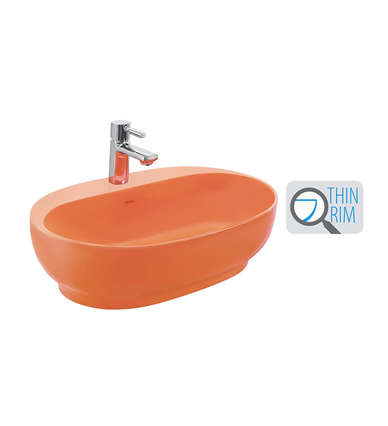 Cera Cafe Orange Ceramic Wash Basin