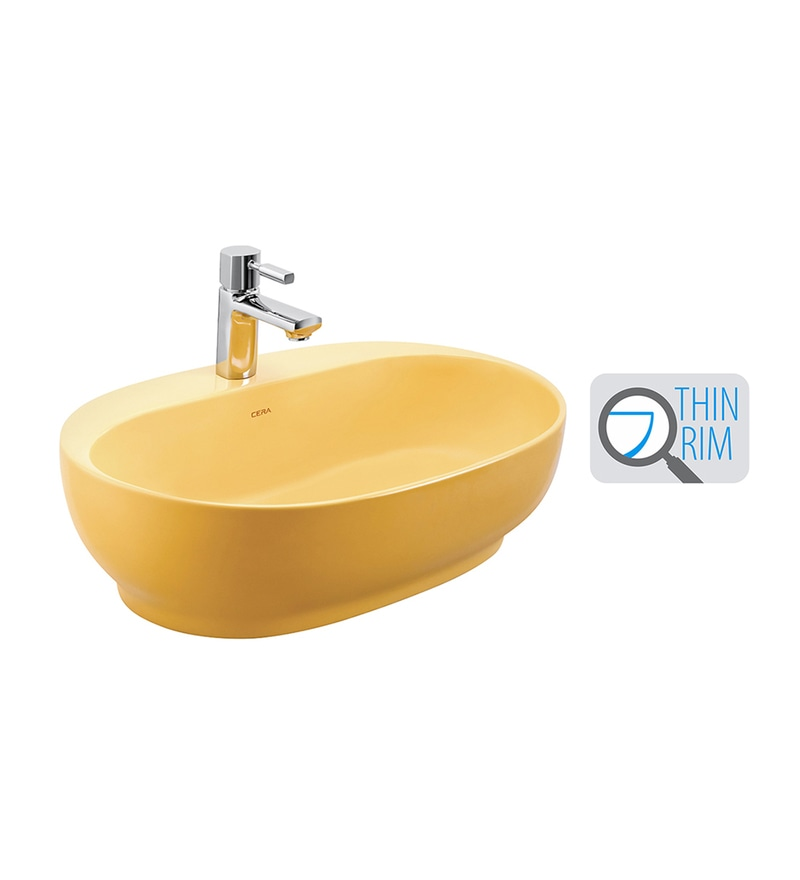Cera Cafe Yellow Ceramic Wash Basin