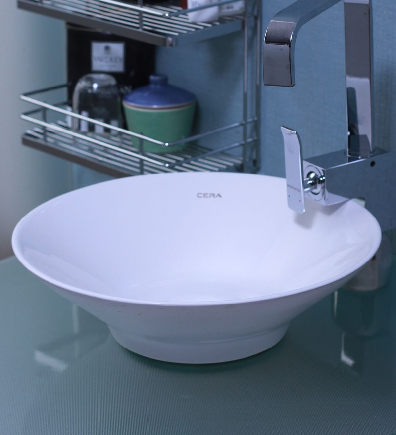 Cera Canal White Ceramic Wash Basin