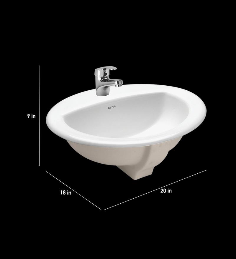 Buy Round Shape Ceramic White Wall Mounted Wash Basin L