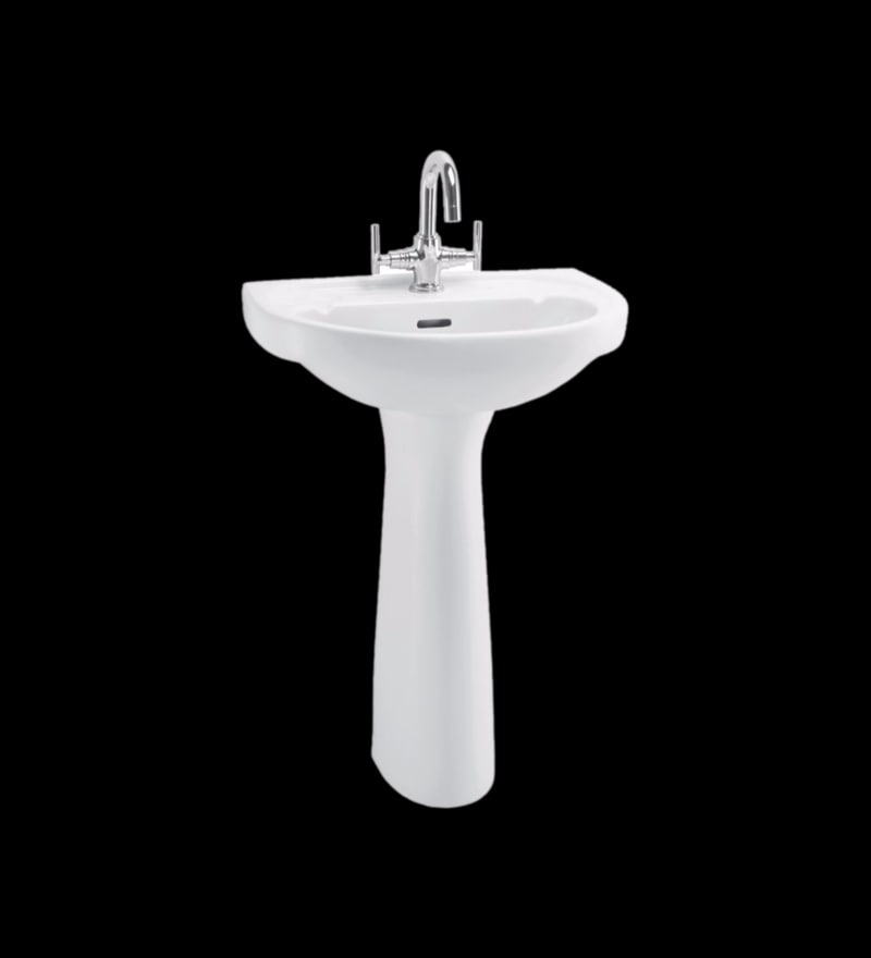 Cera Clair White Ceramic Wash Basin with Pedestal