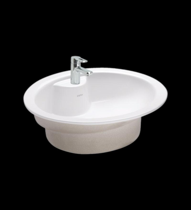 Cera Cliff White Ceramic Wash Basin