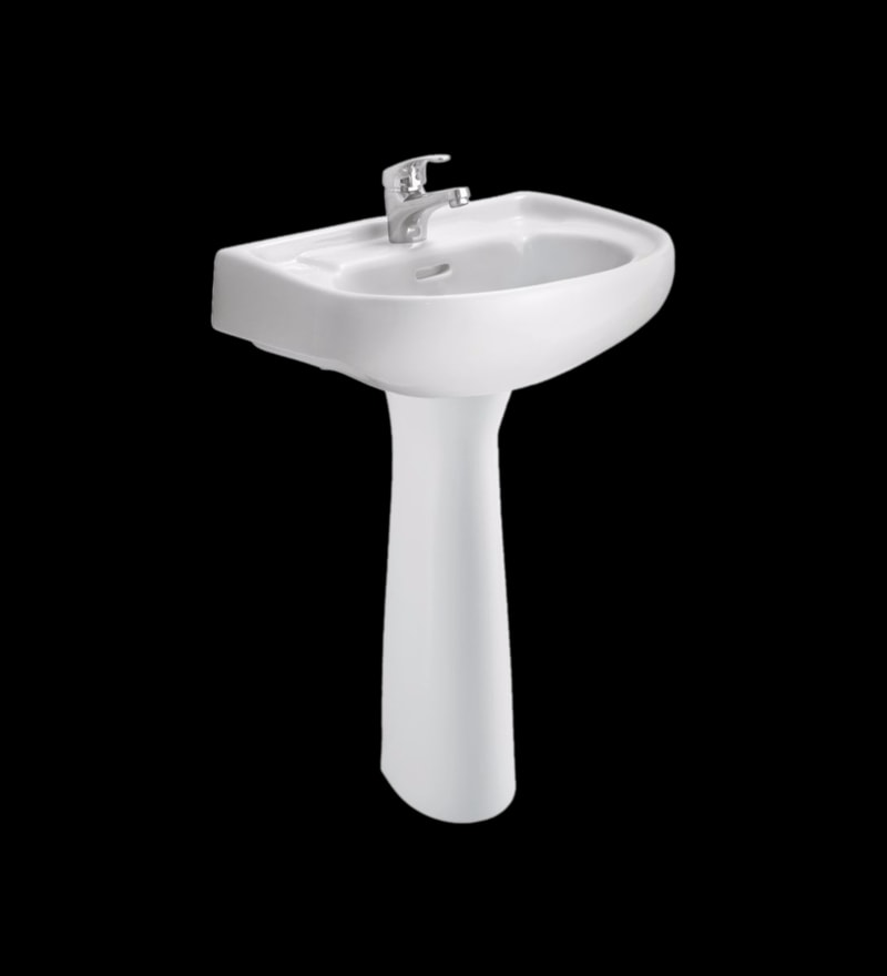Cera Councel White Ceramic Wash Basin with Pedestal