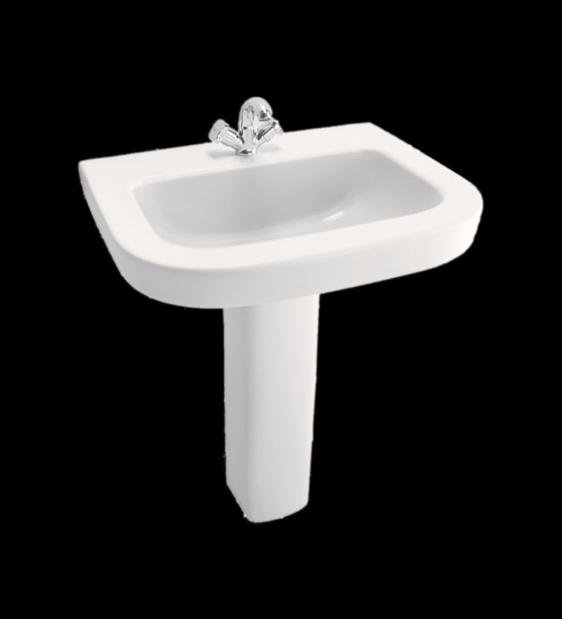 Cera Cruse White Ceramic Wash Basin with Pedestal