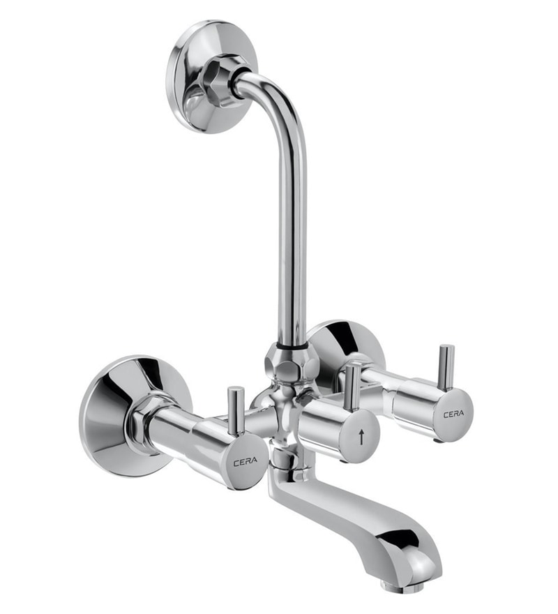Cera Garnet Quarter Half Turn Silver Metal Wall Mixer