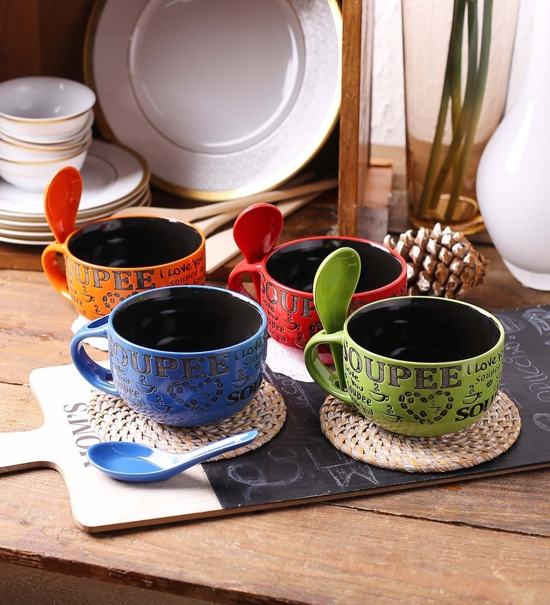 Ceradeco Ceramic 350 ML Soup Bowls with Spoons - Set of 8