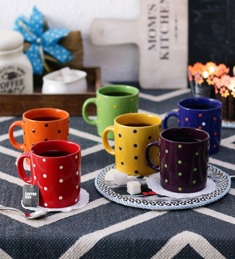 Ceradeco Coffee Pipe Dot Ceramic 200 ML Mugs - Set of 6