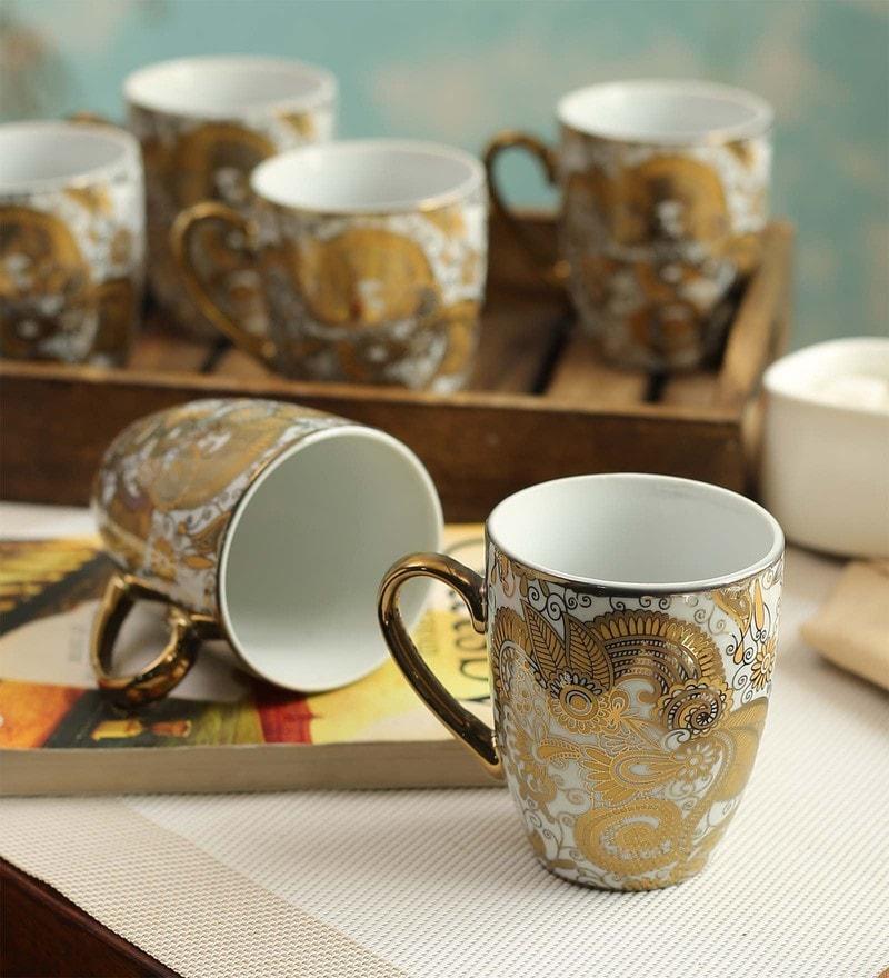 Ceradeco Coffee Series Porcelain 200 ML Mugs - Set of 6