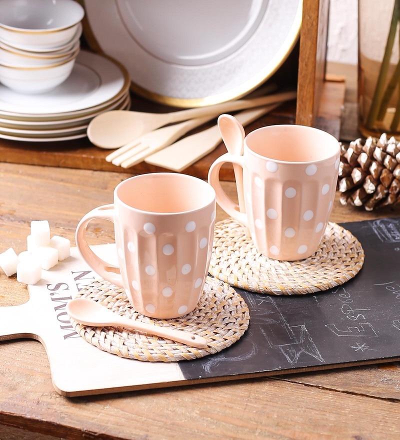 Ceradeco Polka Dot Baby Pink Ceramic 250 ML Mugs - Set of 4