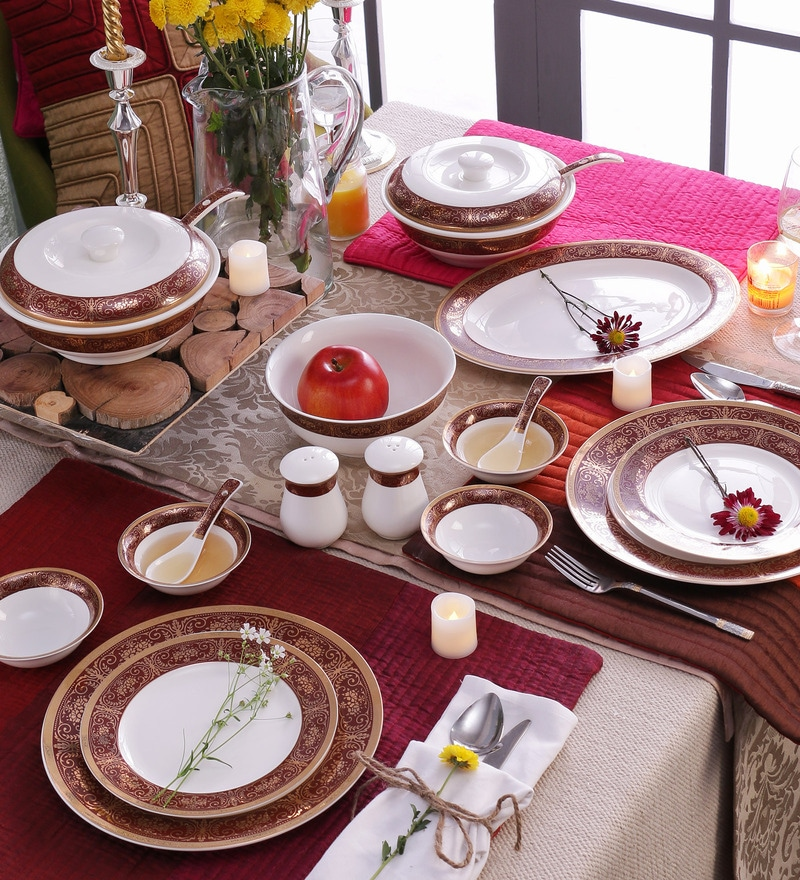 Royal Gold Bone China Dinner Set - Set of 41 by Ceradeco