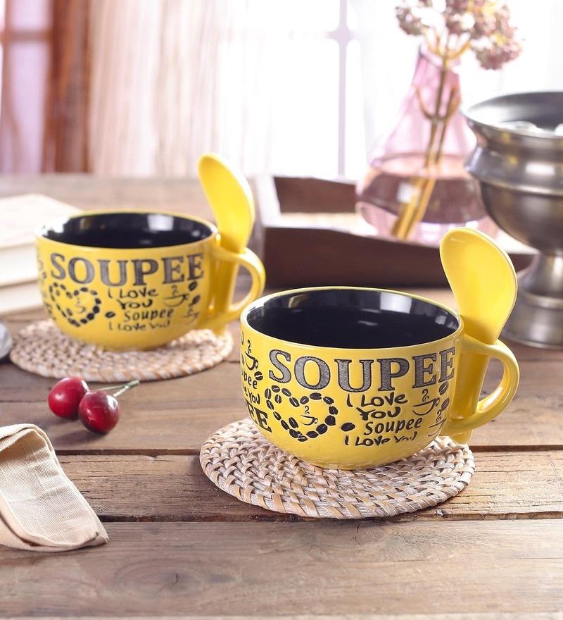 Ceradeco Soup Ceramic 350 Ml Mugs - Set Of 4