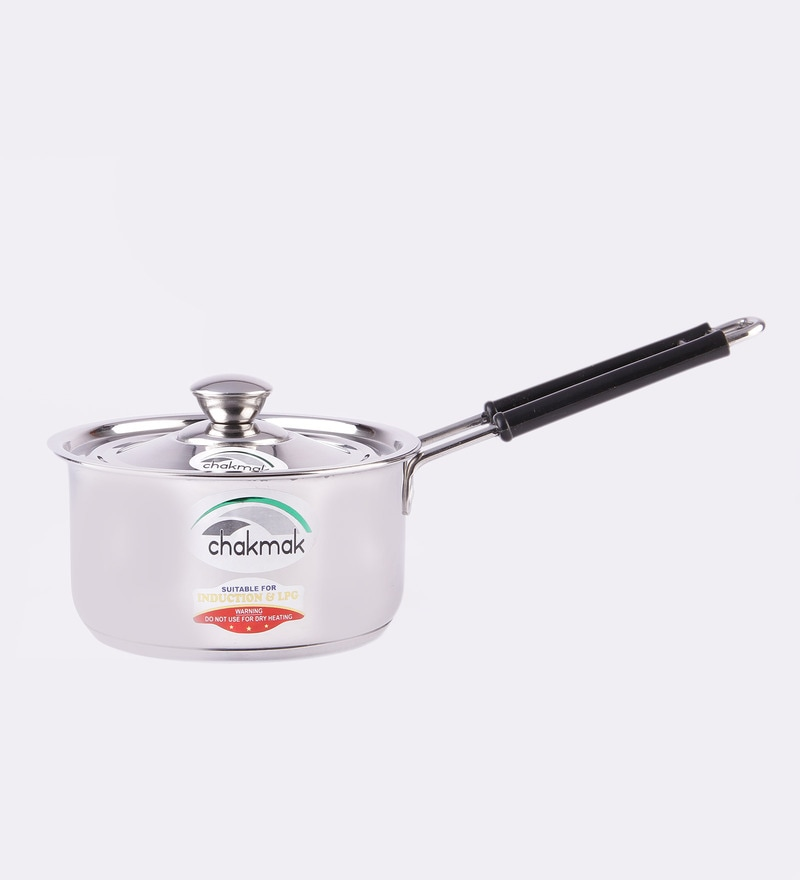 Stainless Steel 1.5L Induction Base Sauce Pan with Lid by Chakmak