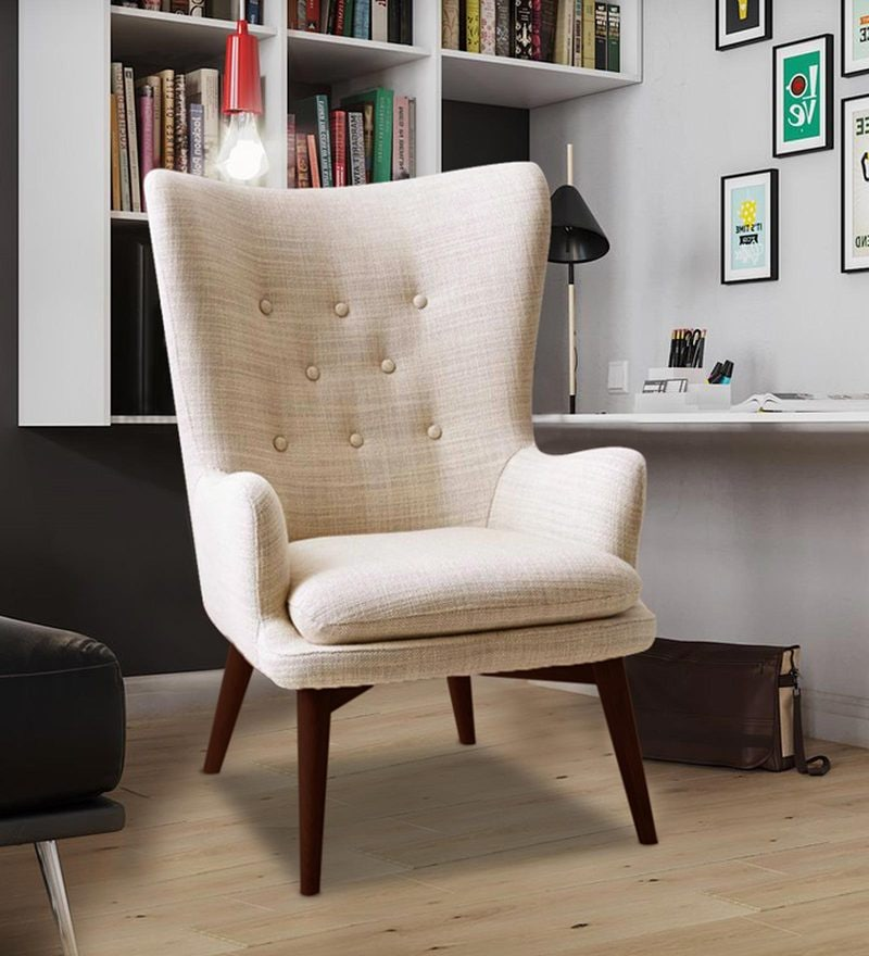 Charming Tufted Wing Back Chair in Beige Colour by Dreamzz Furniture