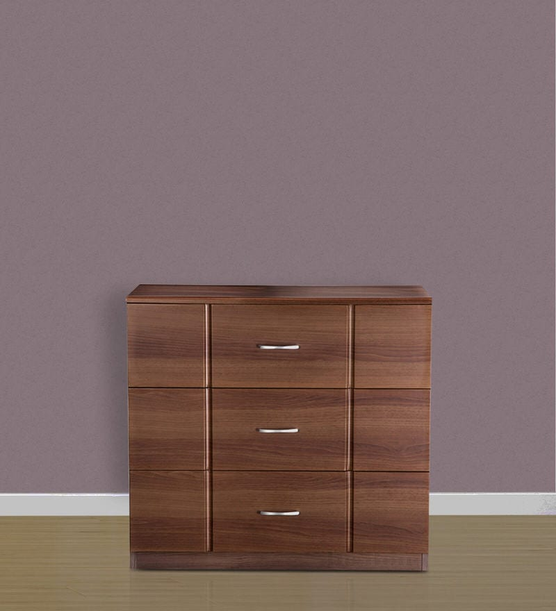 Checkers Three Drawers Chester in Dark Acacia & Walnut Matt Finish by Debono