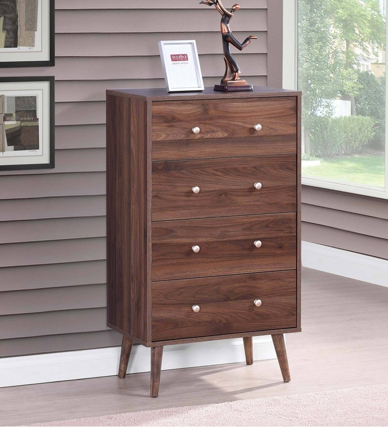 Chest of Four Drawers in Columbia Walnut Finish by Evergreen