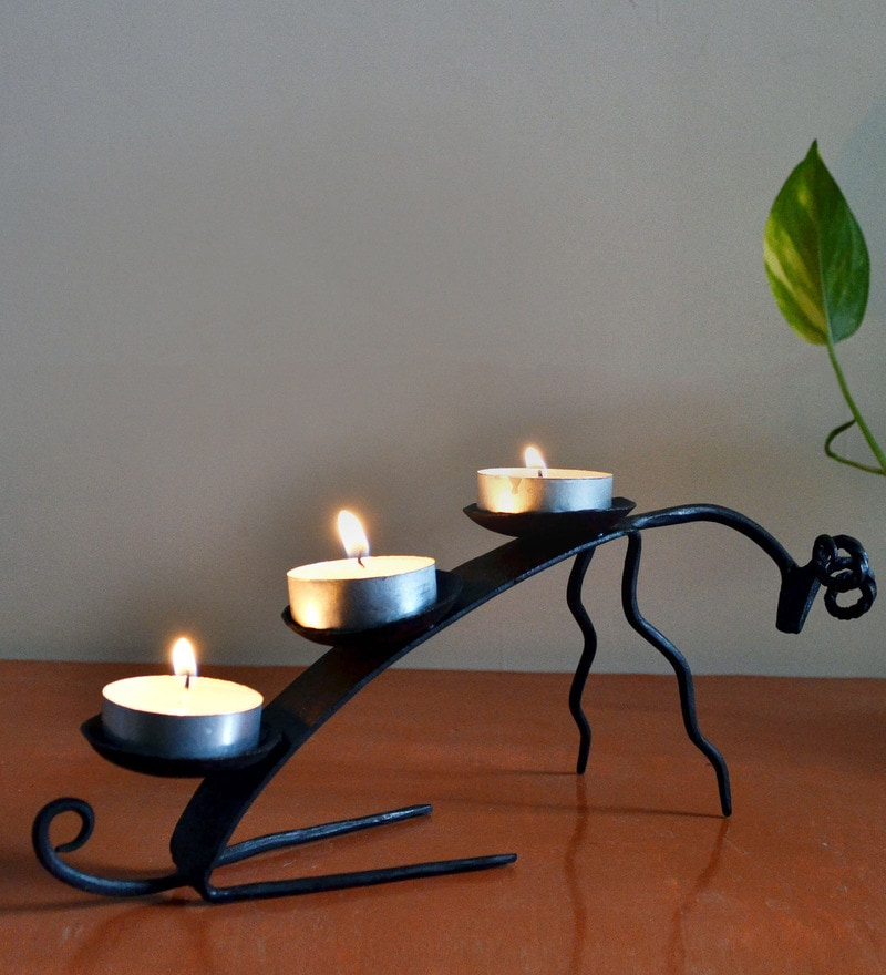 Black Wrought Iron Deer Tea Light Holder by Chinhhari Arts