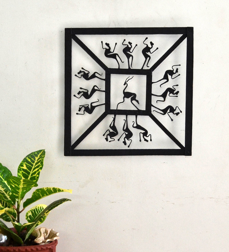 Black Wrought Iron Square Jaali Wall Hanging by Chinhhari Arts