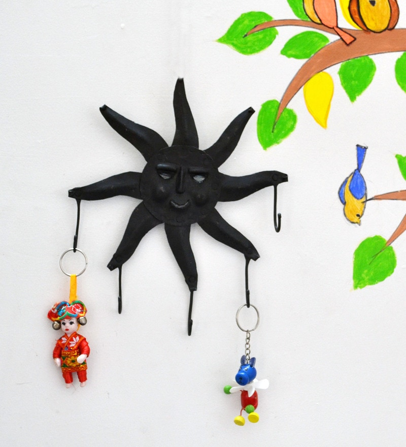 Black Wrought Iron Sun Key Chain Holder by Chinhhari Arts