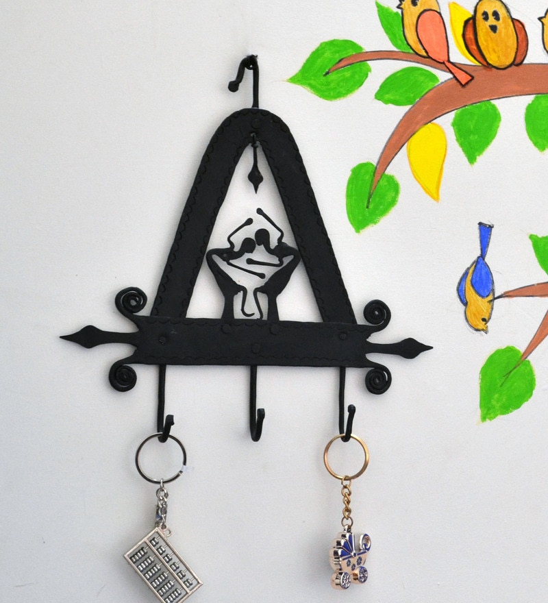 Black Wrought Iron Triangle 3 Hook Key Chain Holder by Chinhhari Arts