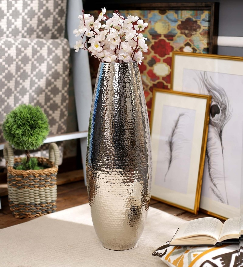Chrome Metal 8 x 8 x 24 Inch Large Silver Hammered Vase by SWHF